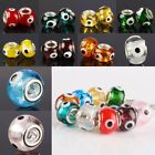 Big Hole Murano Lampwork Glass Heaven Eye Hamsa Rondelle European Charm Bead LOT