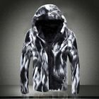 Fashion Mens Casual Winter Warm Faux Fur Hooded Pieced Thicken Coat Outerwear