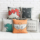"Cartoon Simple Throw Pillow Case Cushion Cover Square 18"" Linen Office Decor"