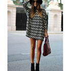 New Women Chiffon Casual 3/4 Sleeve Blouse Long Top Tunic Striped Mini Dress