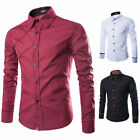 Hot Mens New Korean Button Front Long Sleeve Slim Fit Dress Casual Formal Shirts