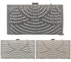 WOMENS SMALL HARD CASE PROM PARTY PEARL DIAMANTE NOVELTY FASHION CLUTCH BAGS