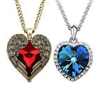 Women Lady Red Angel Wing Heart Of Ocean Titanic Blue Crystal Pendant Necklace