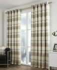 Eyelet Ring Top Curtains Balmoral Check Natural