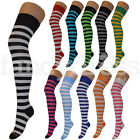 Ladies Womens Striped Stripey Over Knee Socks Long Neon Colourful Fancy Dress