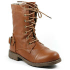Brown Faux Leather Girl's Kids Buckle Mid-Calf Lace-Up Military Combat Boots