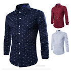Mens Long Sleeve Slim Fit Dress Shirt Anchor Printed Casual Stylish Party Shirts