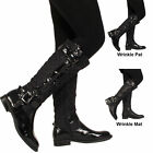WOMENS LADIES LOW HEEL BUCKLE  ZIP KNEE HIGH CALF BIKER QUILTED STYLE  BOOT SIZE