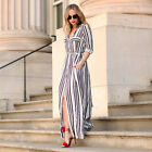 Fashion Women Long Sleeve Tunic Shirt Maxi Black White Striped Long BOHO Dress