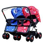 New Twin Baby Pushchair Infant Double Pram Toddler Stroller Buggy Storage Basket