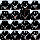 Hot Tassels Wedding Women Rhinestone Bracelet Necklace Earrings Ring Jewelry Set
