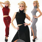 Sexy Women's 2 piece knitted business dress Crop Poloneck Top and Midi Skirt