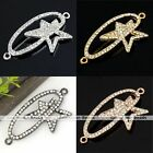 1pc Metal Curved Side Ways Crystal Star Orbit Bracelet Connector Charm Beads DIY