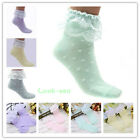 Casual Womens Two Tone Vintage Dot Ruffle Frilly Cotton Short Soft Ankle Socks