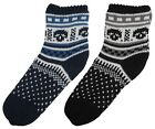 RJM Boys Fairisle Knitted Fleece Lined Non-Slip Slipper Socks