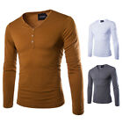 Men's Slim Fit Long Sleeve Button V-Neck Tee Shirt Solid Casual Tops T-Shirts
