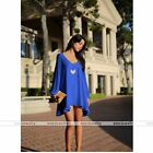 Fashion Women Summer Blue Casual Cut out Party Evening Cocktail Short Mini Dress