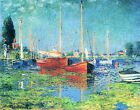 Red Boats Argenteuil Seascape by Claude Monet Repro Giclee Art Prints on Canvas