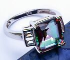 Rainbow Colored Topaz & Russian CZ .925 Sterling Silver Ring  Sizes 5-10