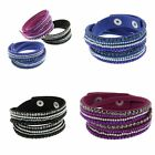 Korean Rivet Suede Wrap Wristband Cuff Punk Crystal Rhinestone Bracelet Bangle