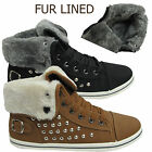 LADIES CUFFED WOMENS TRAINER GIRLS HI HIGH TOP FUR ANKLE BOOTS FLAT SHOES SIZES