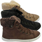 LADIES WOMENS TRAINER GIRLS HI HIGH TOP FUR COLLAR ANKLE BOOTS FLAT SHOES SIZES