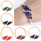 New Fashion Womens Gold Plated Crystal Chain Bangle Cuff Charm Bracelet Jewelry