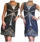 Ladies Dress Gatsby 1920 Flapper Sequin Party Evening Mini Size 8 10 12 14 16 18