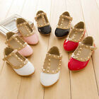 Kids Girls Sandals Buckle Princess Rivet T-strap Flats Pointed Toe Shoes Hot