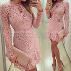4 Sizes Pink Women Bodycon Cocktail Lace Long Sleeve Lady Evening Party Dress