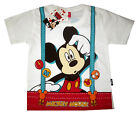 MICKEY MOUSE white short sleeve cotton summer t-shirt S-XL Age 3-8 yrs Free Ship