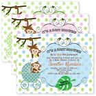 Baby Shower Invitations Carriage Polka Dot Monkey Jungle Invitation personalized