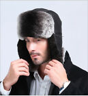 men's fashion russia snow style top rex rabbit fur and genuine leather hat cap