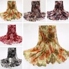 Maple Leaves Lady Women Silk Scarf Soft Shawl Wrap Neck Warm Stole Beach Gift