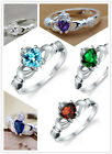 Silver Ring Wedding Princess Heart Crystal Stones Finger Mix Sz 7-9