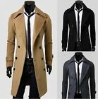 US Seller-Mens Trench Coat Double Breasted Full Lining Winter Jacket PKC2