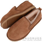 Mens Luxury Sheepskin Slipper with Hard Sole Chestnut