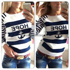Fashion Womens Long Sleeve Jumper Pullover Tops Blouse T Shirt  White and Blue