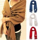 Lady Women Winter Warm Cashmere Silk Solid Long Pashmina Shawl Wrap Scarf Tassel
