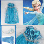 Elsa dress Costume Princess Queen Anna Size 3/4/5/6/7/8Years Free Tiara & Gloves