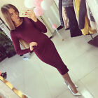 Fashion Women Sexy New Long Sleeve Slim Tunic Bodycon Knee Length Party Dress