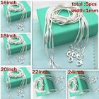 "WHOLESALE 5PCS 1MM SOLID Hot SILVER JEWELRY SNAKE CHAIN 16""-24""NECKLACE CHAIN"