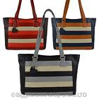 Ladies LEATHER Large Shoulder BAG by Mala; BURCHELL Collection Handbag STRIPES