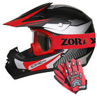 LEOX19 Junior Kids Motocross MX Helmet + ZOR Gloves Goggles QUAD BIKE