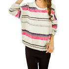 Women Round Neck 3/4 Sleeves Stripes Prints High Low Hem Casual Tee Shirt