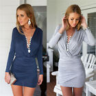Fashion Women's Sexy Tight V Collar Long Sleeve Coat Dress Tops Blouse S - XL