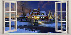 WHITE CHRISTMAS VILLAGE 3D EFFECT WINDOW CANVAS PICTURE WALL ARTWORK PRINTS