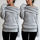 Sexy Womens Casual Jumper Knitted Sweater Tops Hoodie Pullover Sweatshirt Coat