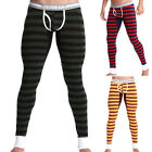 Plus Size Mens Striped Thermal Long Johns Underwear Inner Pants Winter Leggings