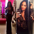 Womens Lady Sexy Long Lace Bridesmaid Formal Gown Ball Party Cocktail Prom Dress